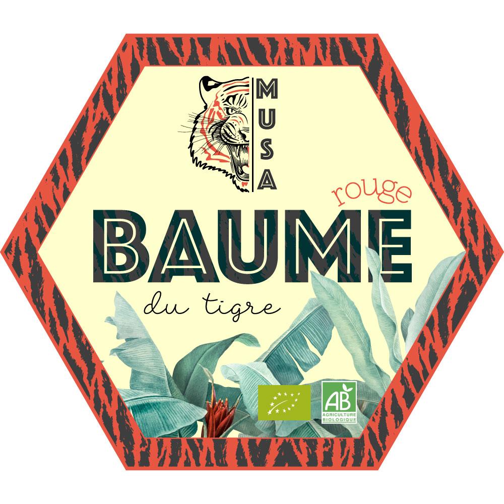 Création d'étiquette baume du tigre rouge Musa