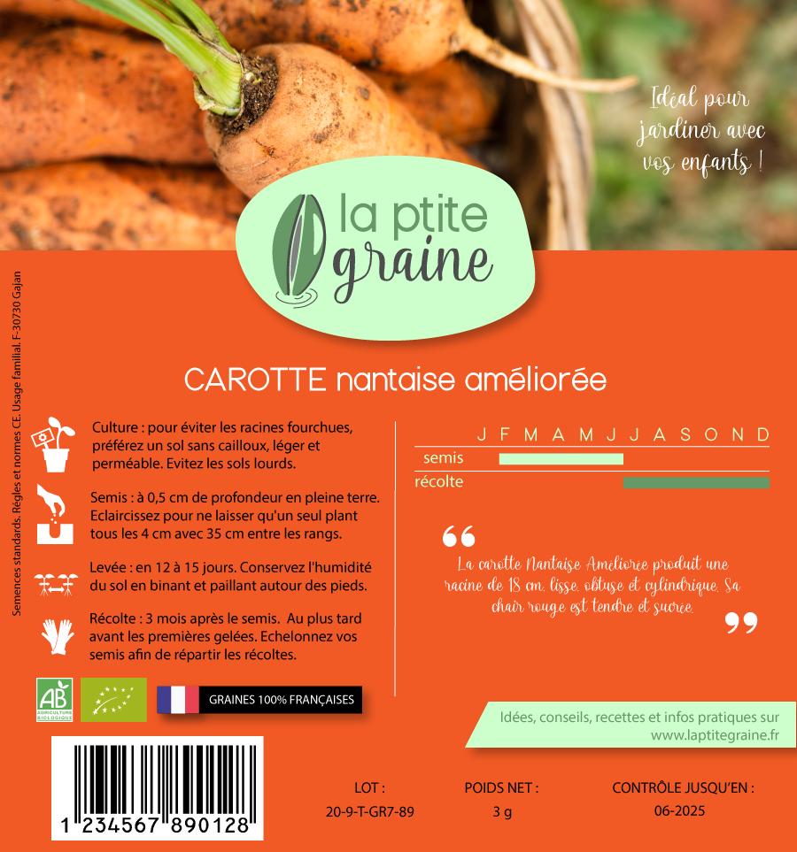 Etui carton recyclé graines carottes verso