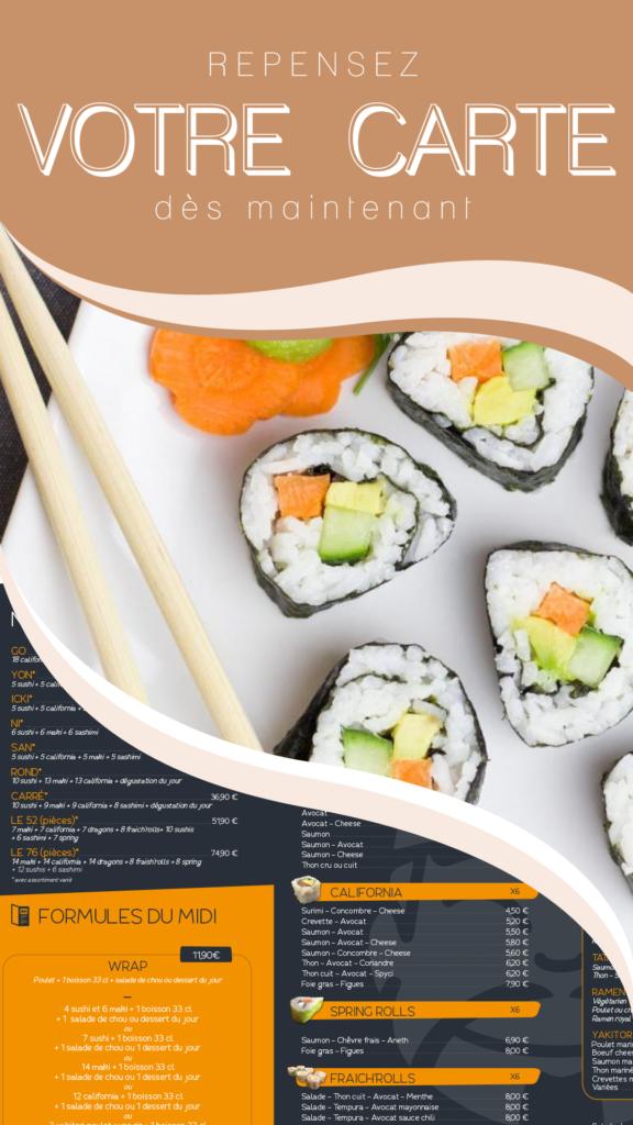 Story Instagram création de menu sushis