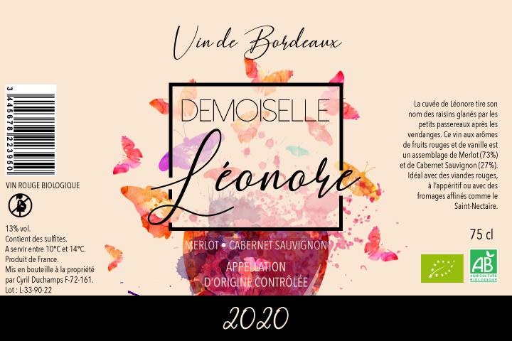 Etiquette de vin demoiselle léonore
