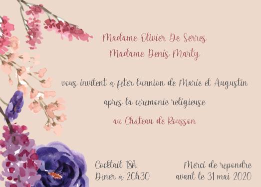 Cartonnette d'invitation à dîner mariage