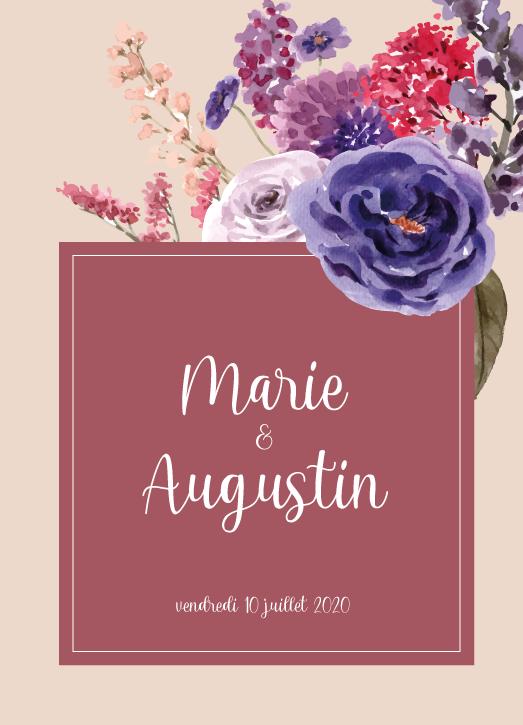 Faire part mariage Marie et Augustin recto