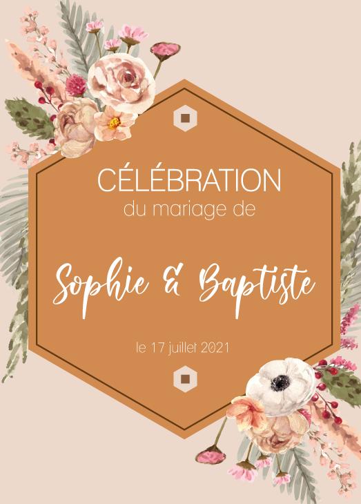 Faire part mariage Sophie et Baptiste recto