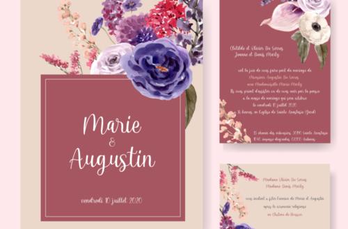 Faire part mariage Marie et Augustin