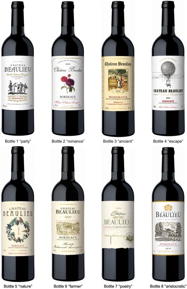 Bouteilles aux différents graphismes pour étude chinoise sur les packagings de vin