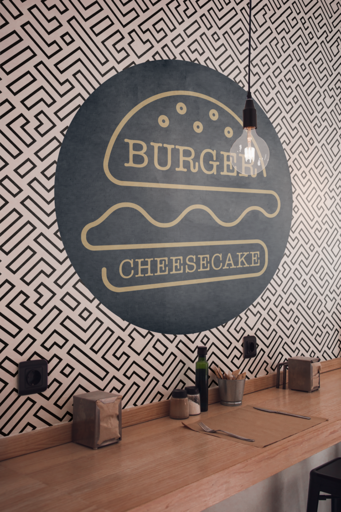 Sticker mural restaurant Burger et Cheesecake