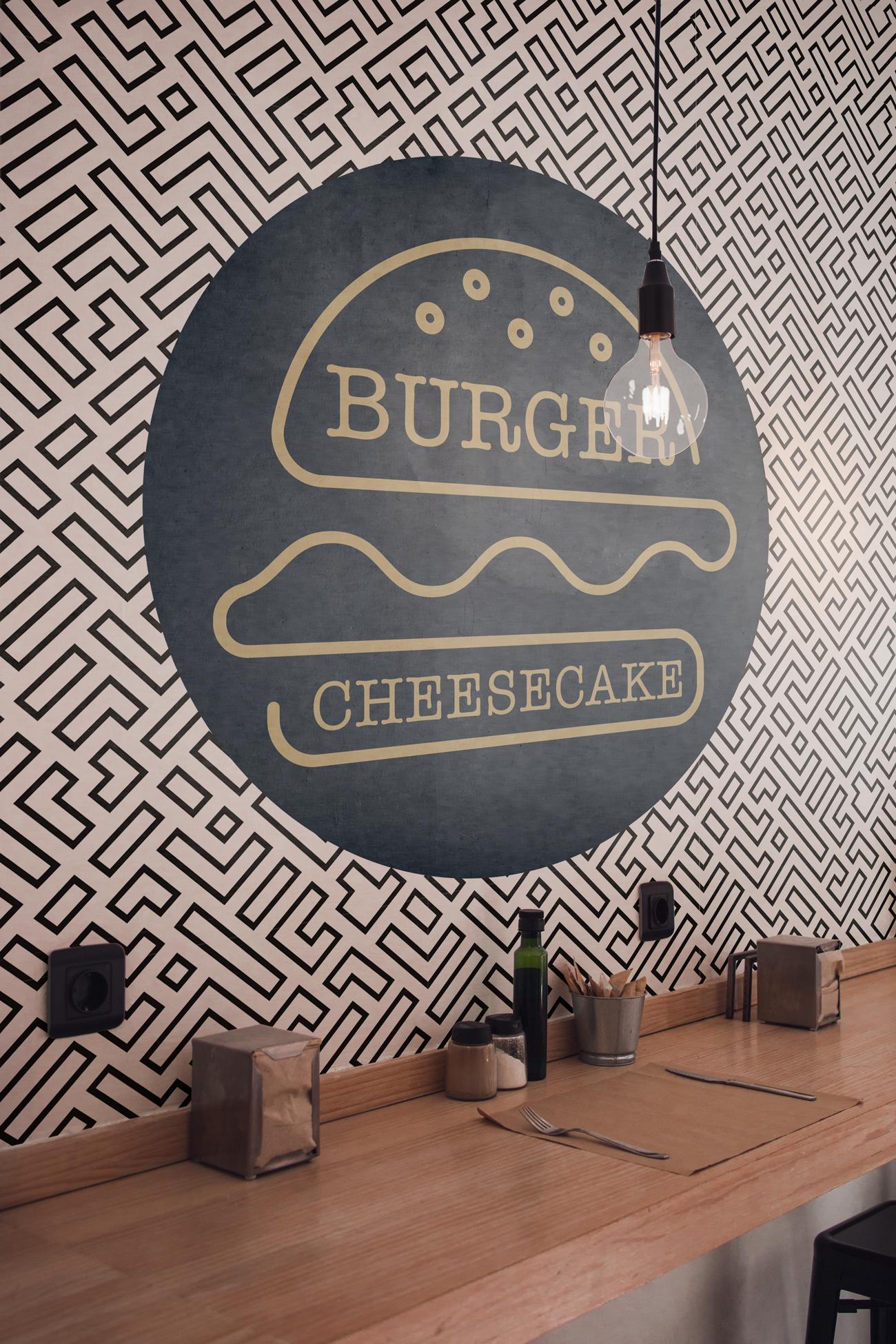 Sticker mural restaurant Burger et Cheesecake