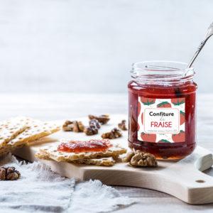 Etiquette confiture de fraise mockup - Illunimes