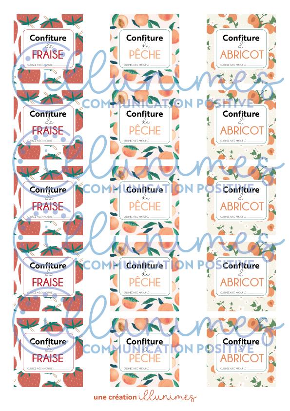 Etiquette confiture fraise abricot peche filigrane - Illunimes