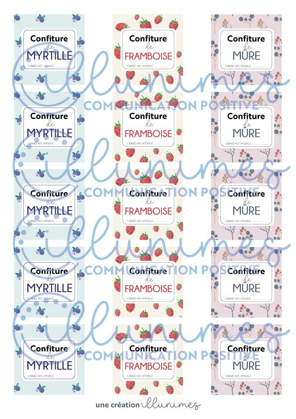 Etiquette confiture myrtille framboise mure filigrane - Illunimes