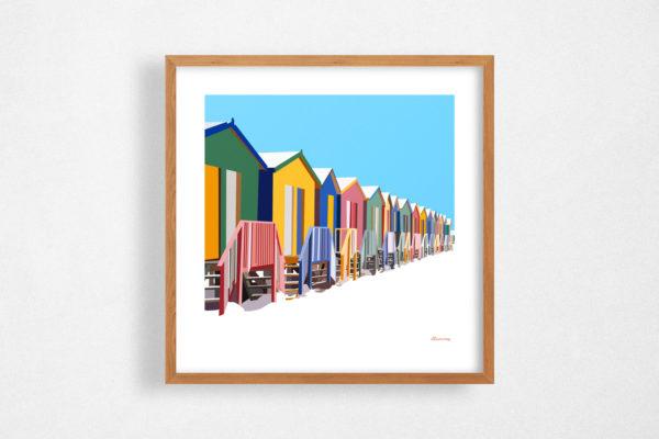 illustration cabines de plage mockup - Illunimes