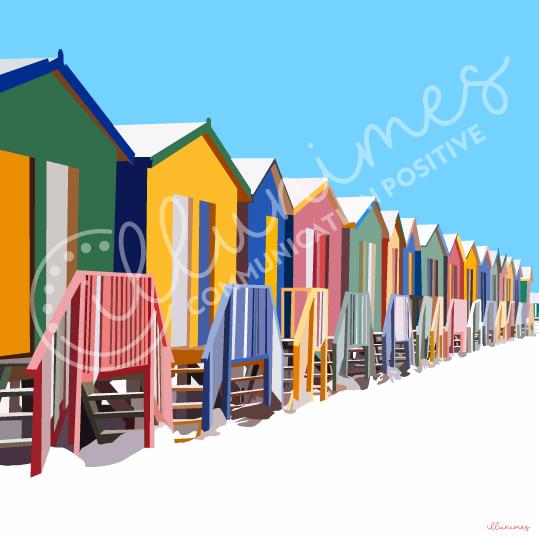 illustration cabines de plage - Illunimes